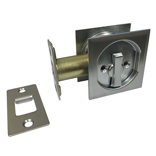 Pocket Door Pull - Square - Privacy, Brushed Chrome