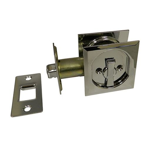 Pocket Door Pull - Square - Privacy, Chrome