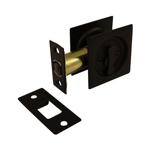 Pocket Door Pull - Square - Privacy, Black