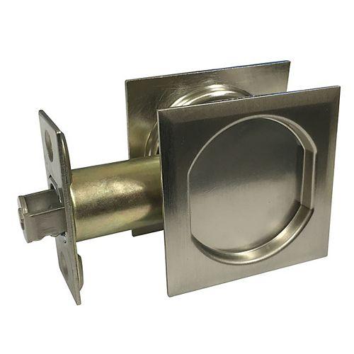 Pocket Door Pull - Square - Passage, Brushed Nickel