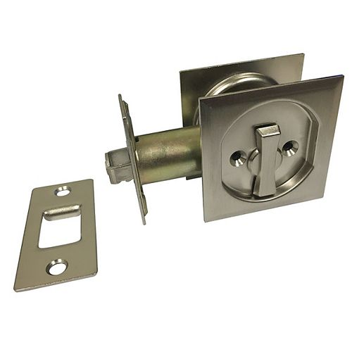 Pocket Door Pull - Square - Privacy, Brushed Nickel