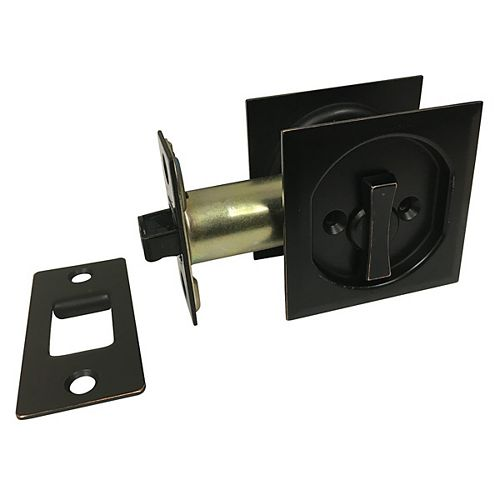 Pocket Door Pull - Square - Privacy, Oil-Rubbed Bronze