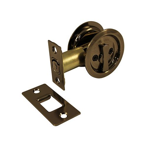 Pocket Door Pull - Round - Privacy, Antique Nickel