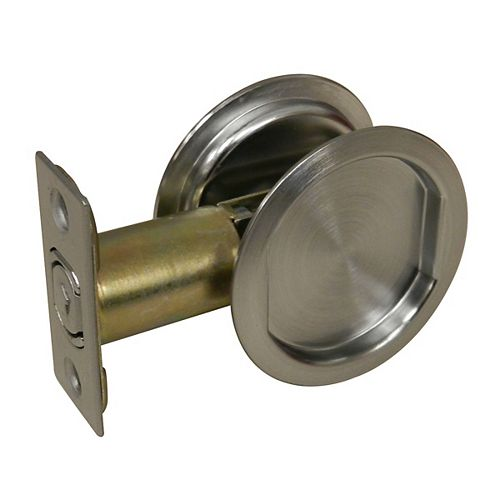 Pocket Door Pull - Round - Passage, Brushed Chrome