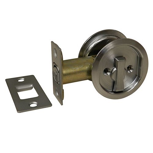 Pocket Door Pull - Round - Privacy, Brushed Chrome