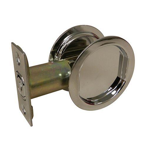 Pocket Door Pull - Round - Passage, Chrome