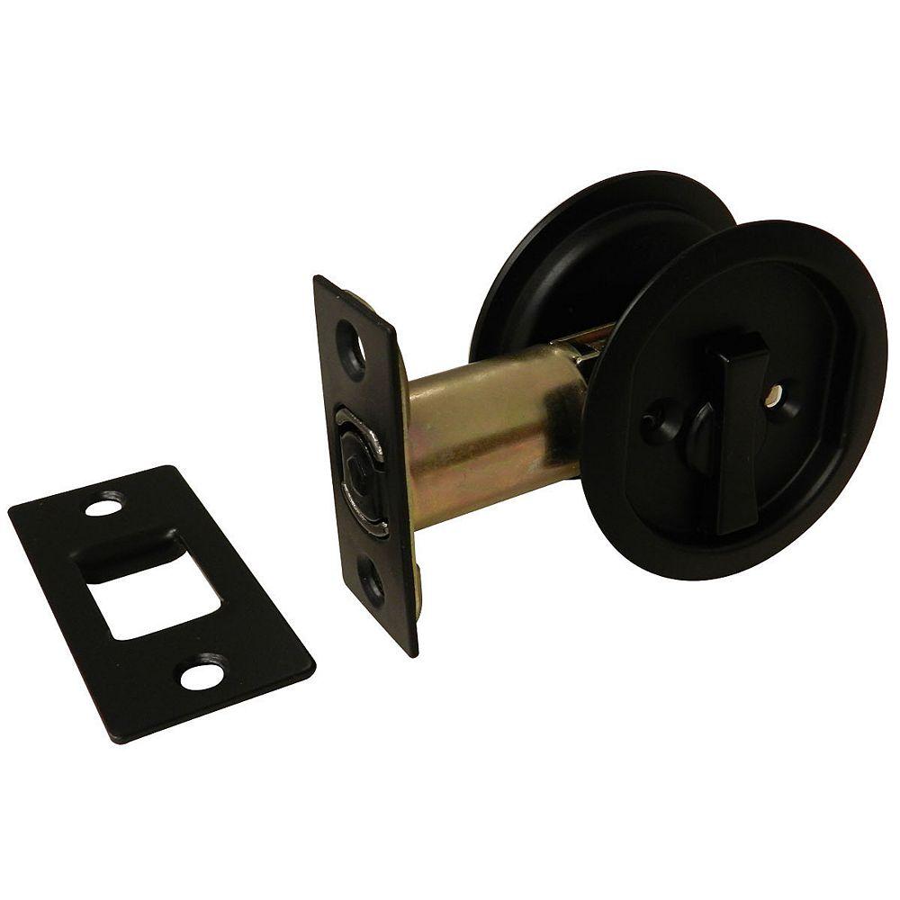 Onward Pocket Door Pull - Round - Privacy, Black
