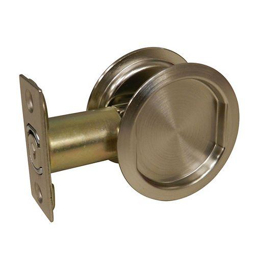 Pocket Door Pull - Round - Passage, Brushed Nickel