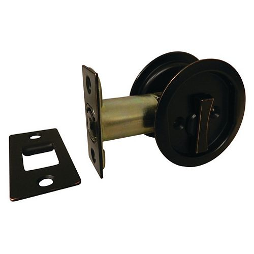 Pocket Door Pull - Round - Privacy, Oil-Rubbed Bronze