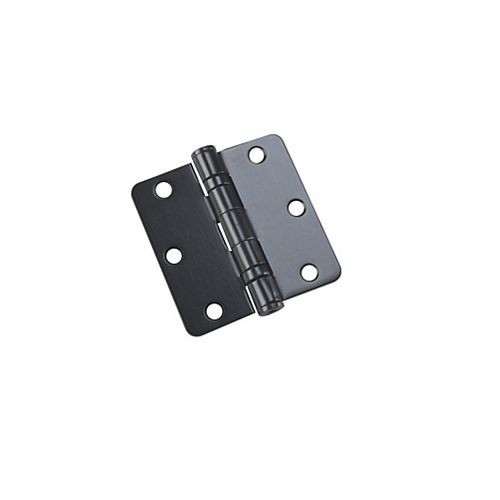Paquet de 2, Charnières de 3-1/2 po à billes, rayon 1/4 po, Noir