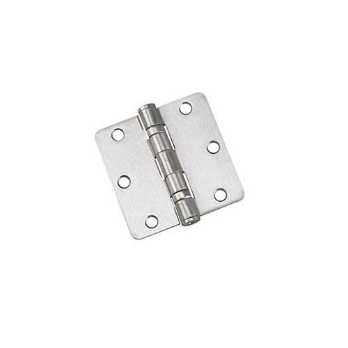 Paquet de 2, Charnières de 3-1/2 po à billes, rayon 1/4 po, Nickel brossé