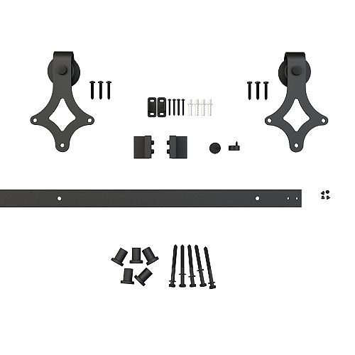 Onward 78 3/4 in (2000 mm) Sliding Barn Door Hardware Kit, Decorative Visible Rail System, Black Diamond Collection, Black