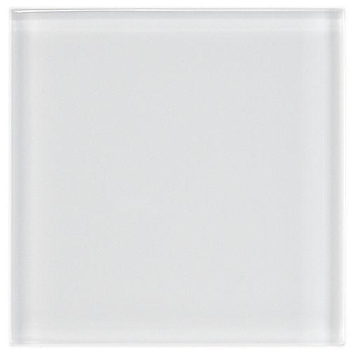 Carreau de verre mural 4 po x 4 po Tessera blanc glacier (9 pi2/bte)