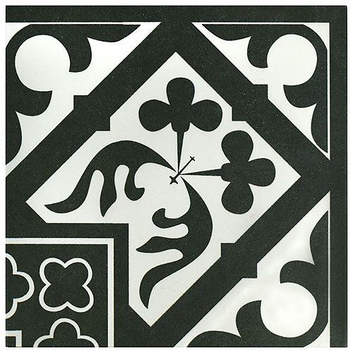 Merola Tile Carreau de coin mur sol porcelaine 9 3/4 po x 9 3/4 po Majestic Orleans Angulo noir (2,78 pi2/bte)