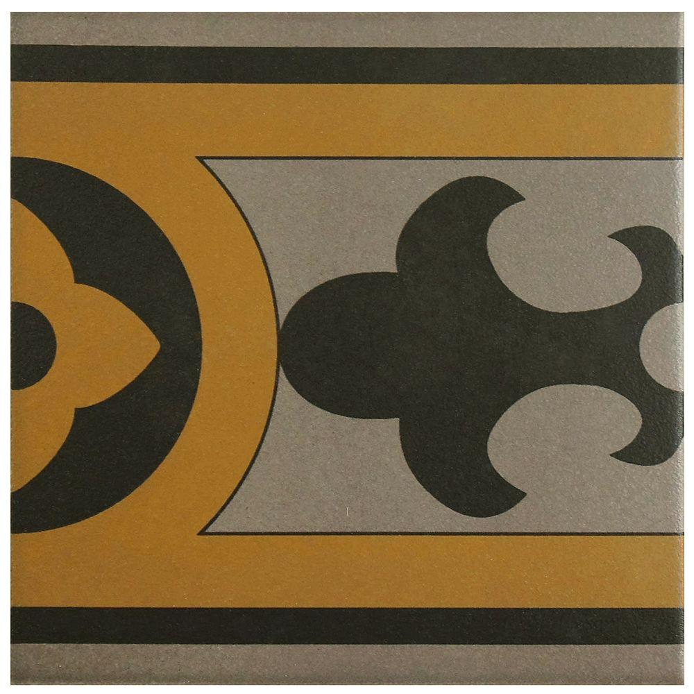 Merola Tile Cementi Quatro Cla Cenefa 7-inch x 7-inch Porcelain Floor and Wall Border Tile (2.92 sq. ft. / case)