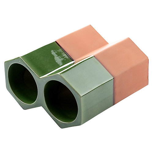 Support 2 bouteilles empilable céramique aspect terre cuite 5 1/8 po x 9 1/4 po Botellero vert