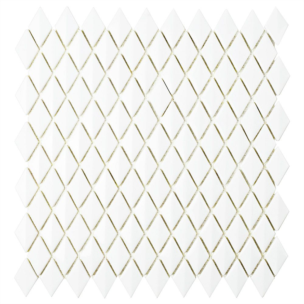 Merola Tile Expressions Beveled Diamond White 11-5/8-inch x 12-inch x 7 mm Glass Mosaic Tile (9.89 sq.ft./ case)