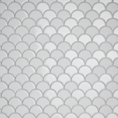 Expressions Scallop White 11-1/4-inch x 12-inch x 7 mm Glass Mosaic Tile (9.58 sq. ft. / case)