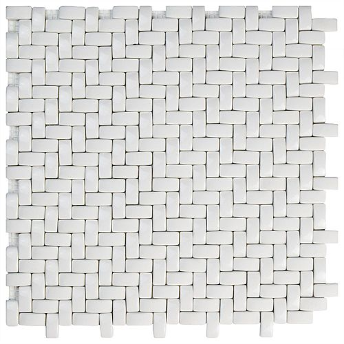 Merola Tile Expressions Weave White 12-1/4-inch x 12-1/4-inch x 7 mm Glass Mosaic Tile (10.63 sq. ft. / case)