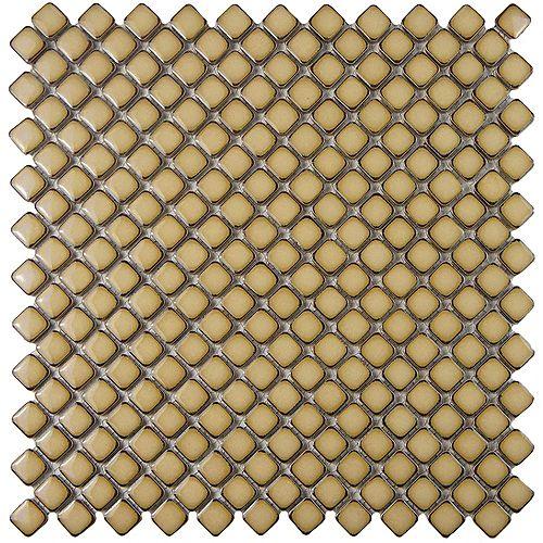 Merola Tile Hudson Diamond Caffe 12-3/8-inch x 12-3/8-inch x 5 mm Porcelain Mosaic Tile (10.85 sq. ft. / case)