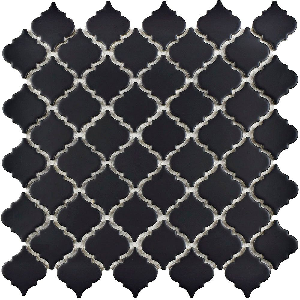 Merola Tile Hudson Tangier Matte Black 12-3/8-inch x 12-1/2-inch x 5 mm Porcelain Mosaic Tile (10.96 sq ft/case)