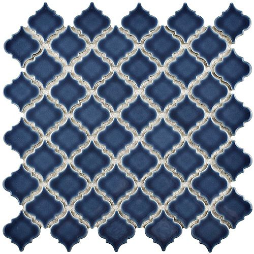 Merola Tile Hudson Tangier Denim Blue 12-3/8-inch x 12-1/2-inch x 5 mm Porcelain Mosaic Tile (10.96 sq.ft./case)