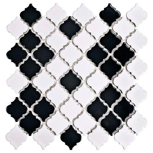 Merola Tile Carreau mosaïque porcelaine 12 3/8 po x 12 1/2 po x 5mm Hudson Tangier nr & bl Mimos (10,96 pi2/bte)