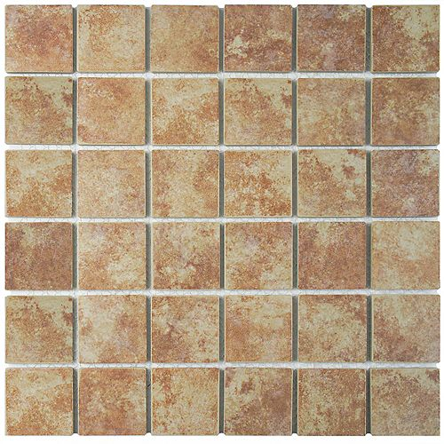 Merola Tile Colorado Quad Mesa 12-1/2-inch x 12-1/2-inch x 5 mm Porcelain Mosaic Tile (11.07 sq. ft. / case)