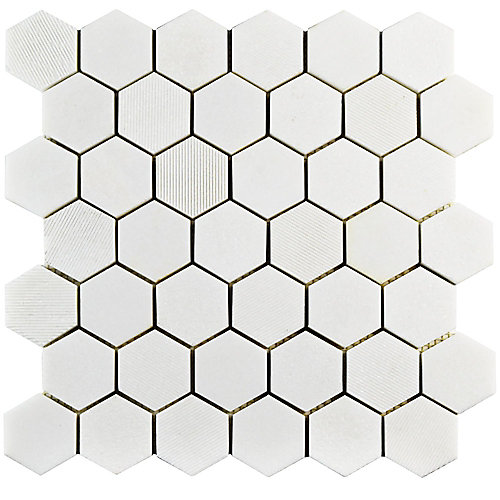 Structure Due Hex Thassos White 11 3/4-inch x 12-inch x 8 mm Natural Marble Mosaic Tile (10 sq. ft. / case)