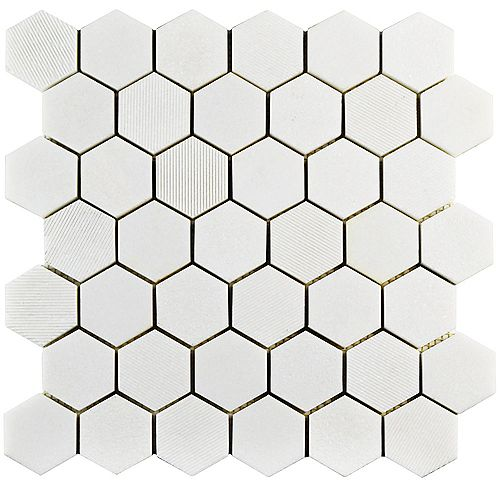 Carreau mosaïq hex marbre naturel 11 3/4 po x 12 po x 8 mm Structure Due Thassos blanc (10 pi2/bte)