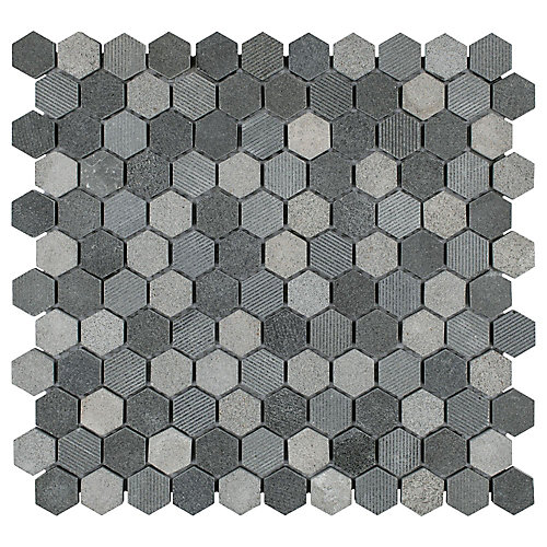 Structure Hex Black 11-inch x 11 5/8-inch x 8 mm Natural Lava Stone Mosaic Tile (9.08 sq. ft. / case)