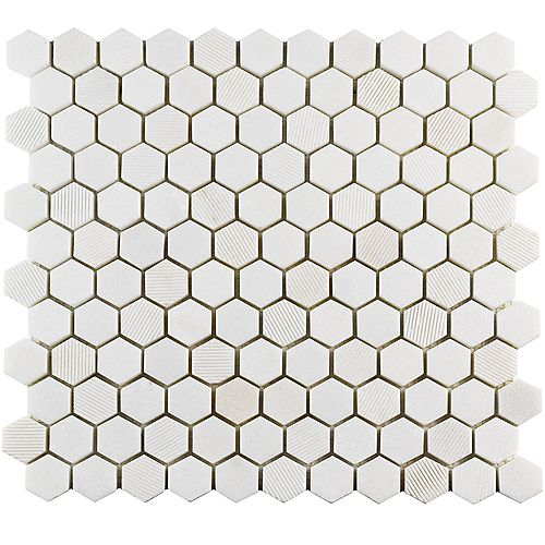 Structure Hex Thassos White 11-inch x 11 5/8-inch x 8 mm Natural Marble Mosaic Tile (9.08 sq. ft. / case)