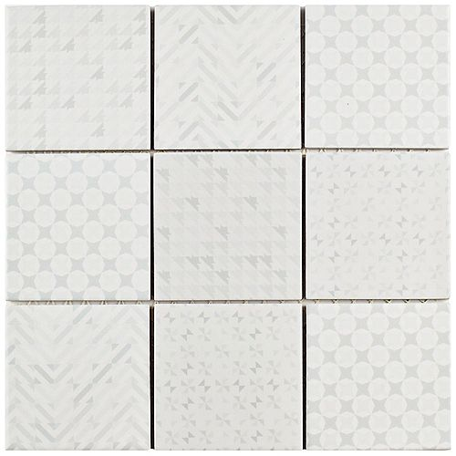 Merola Tile Geobright White 11-5/8-inch x 11-5/8-inch x 6 mm Porcelain Mosaic Tile (9.59 sq. ft. / case)