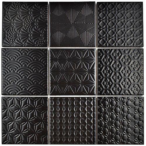 Merola Tile Spirit Black 11-5/8-inch x 11-5/8-inch x 6 mm Porcelain Mosaic Tile (9.59 sq. ft. / case)