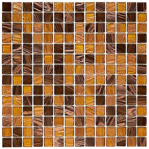 Merola Tile Coppa Amber 12-inch x 12-inch x 4 mm Glass Mosaic Tile (13.27 sq. ft. / case)
