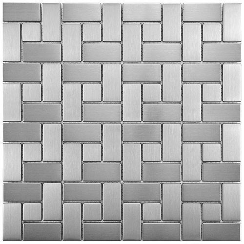 Merola Tile Carreau de mosaïque en inox sur porcelaine 11 3/4 po x 11 3/4 po x 8 mm Meta Spiral (9,79 pi2/bte)