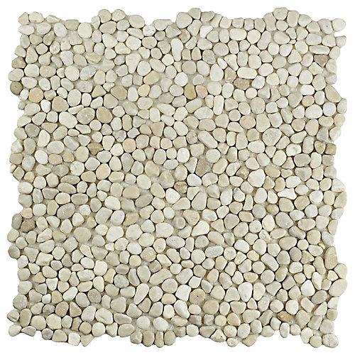 Carreau de mosaïque en cailloux 12 1/4 po x 12 1/4 po x 7 mm Pebblini, grès (10,63 pi2/bte)