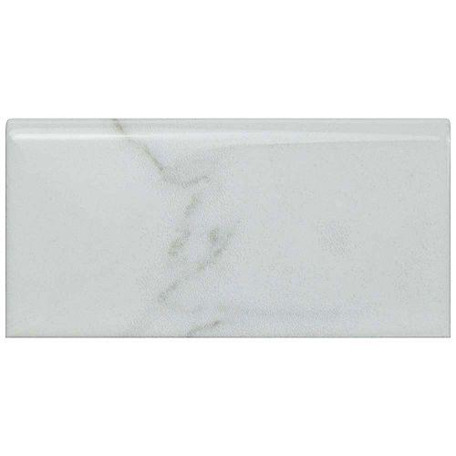 Merola Tile Classico Carrara Glossy Bullnose 3-inch x 6-inch Ceramic Wall Trim Tile (5.21 Ln. ft. / case)