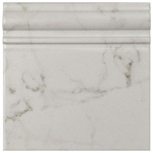 Merola Tile Classico Carrara Matte Skirting Base 6-inch x 6-inch Ceramic Wall Trim Tile (5.21 Ln. ft. / case)