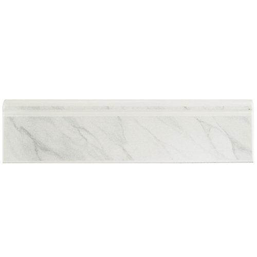 Battiscopa Satin White Marble 3-1/4-inch x 12-3/8-inch Ceramic Wall Trim Tile (26.3 Ln. ft. / case)