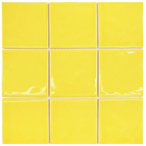 Merola Tile Twist Square Yellow Lemon 11-3/4 in. x 11-3/4 in. Ceramic Mosaic (9.79 sq. ft. /Case)