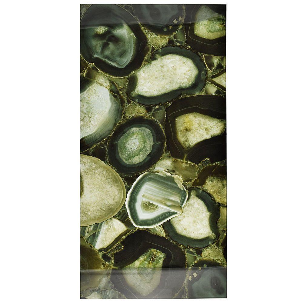 Merola Tile Carreau mural en verre 11 3/4 po x 23 3/4 po Fossil Panorama, Geode Verde (10 pi2/bte)
