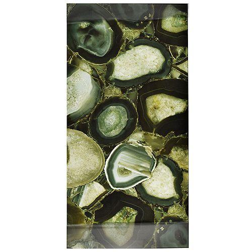 Carreau mural en verre 11 3/4 po x 23 3/4 po Fossil Panorama, Geode Verde (10 pi2/bte)