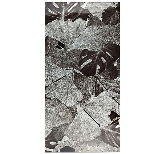 Carreau mural en verre 11 3/4 po x 23 3/4 po Fossil Panorama, Gingko argent (10 pi2/bte)