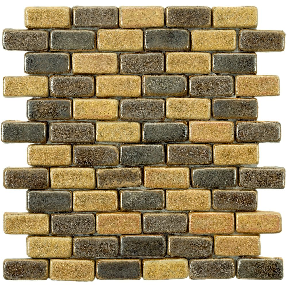 Merola Tile Cobble Brick Cimarron 11 Inch X 11 7 8 Inch X 12 Mm Ceramic Mosaic Tile 4 64 The Home Depot Canada