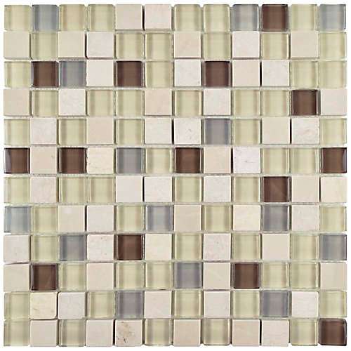 Tessera Square York 11 5/8-inch x 11 5/8-inch x 8 mm Glass and Stone Mosaic Tile (9.59 sq. ft. / case)