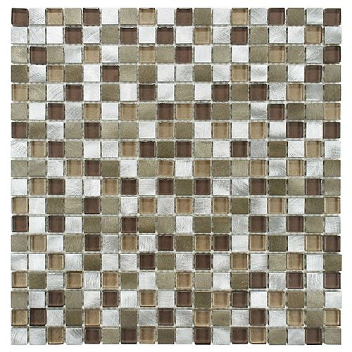Fusion Mini Champagne 12-inch x 12-inch x 6 mm Brushed Aluminum and Glass Mosaic Tile (10.21 sq. ft. / case)