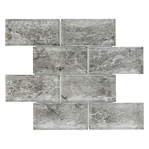Igloo Convex Subway Smoke 11 5/8-inch x 11 7/8-inch x 12 mm Glass Mosaic Tile (4.9 sq. ft. / case)