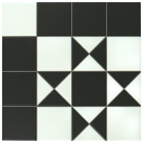Carreau mur et sol en porcelaine 9 3/4 po x 9 3/4 po Bristol, noir (11,11 pi2/bte)