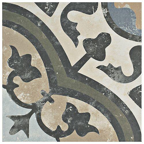 Arte Evoque Carthusian Encaustic 9-3/4-inch x 9-3/4-inch Porcelain Floor and Wall Tile (11.11 sq. ft. / case)